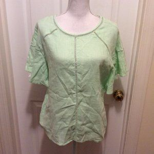 Symple NYC Top S LIght Green Wide Short Sleeve